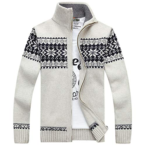 Autumn Men's Sweater Coat Fashion Zipper Snowflake Christmas Sweaters Male Cardigan White