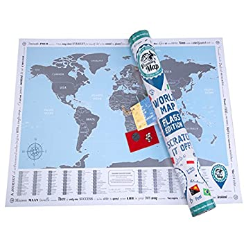 New world map with scratch off flags edition mapa del mundo world map with scratch off flags edition mapa del mundo rasca edicin con banderas de los pases amazon hogar gumiabroncs Image collections