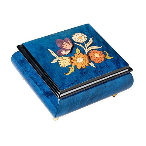 Dark Blue Butterfly Italian Hand Crafted Inlaid Elm Wood Musical Box Plays Tune Blue Danube Waltz