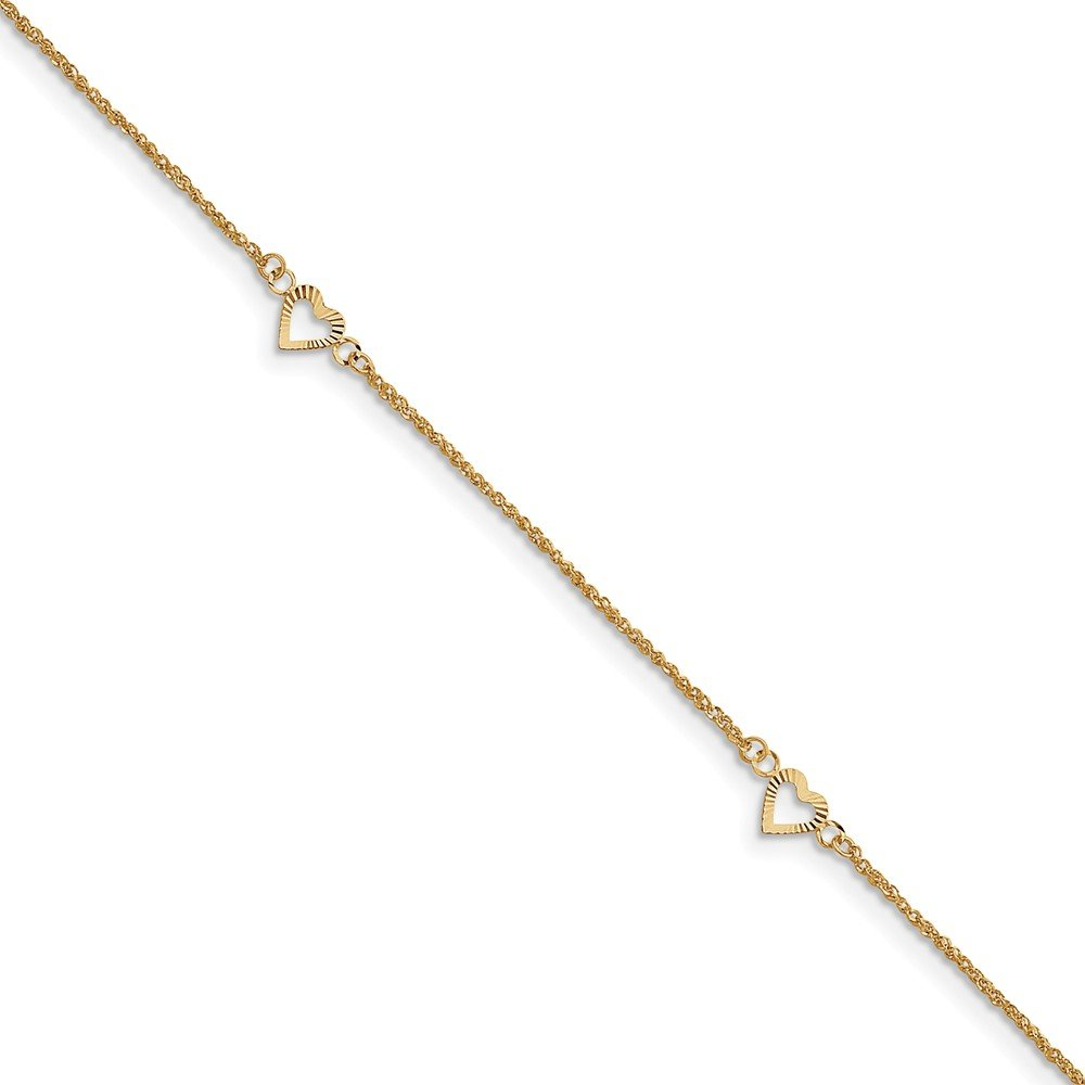 Black Bow Jewelry 14k Yellow Gold Diamond-cut Hearts Anklet, 9-10 Inch