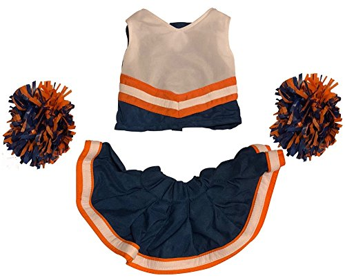 Cheerleader Outfit Teddy Bear Clothes Fit 15 inch Build-A-Bear, Vermont Teddy Bears, American Girl Doll and Make Your Own Stuffed Animals (Navy And -