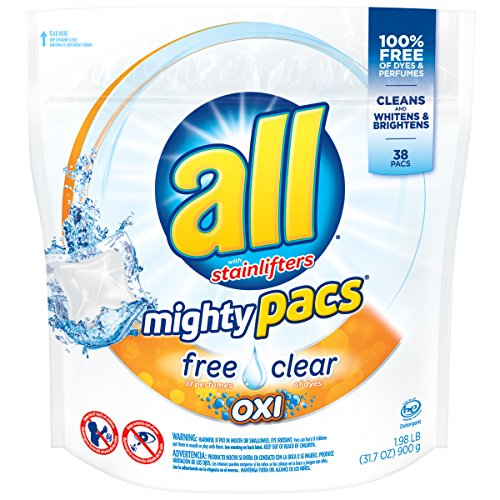 All Mighty Pacs Laundry Detergent With Oxi Stain Removers And Whiteners  Free Clear  Pouch  38 Count