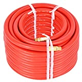 "Air Hose Rubber 300 Psi 1/4 INCH 100 FT. 3/8"" Red Assembly End Brass New For Air Compressor"