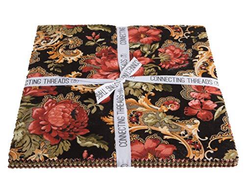 - Connecting Threads Print Collection Precut Quilting Fabric Bundle (Fleurs Dorées - 10