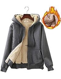 5a4e4b5ba5db8 Women s Winter Thick Fleece Lined Full Zip Hoodie Sweatshirt Jacket  Outerwear