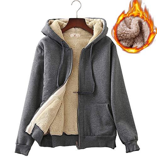 c Casual Thick Warm Full Zip Sherpa Lined Hooded Sweatshirt Jacket (Medium, Dark Grey) ()