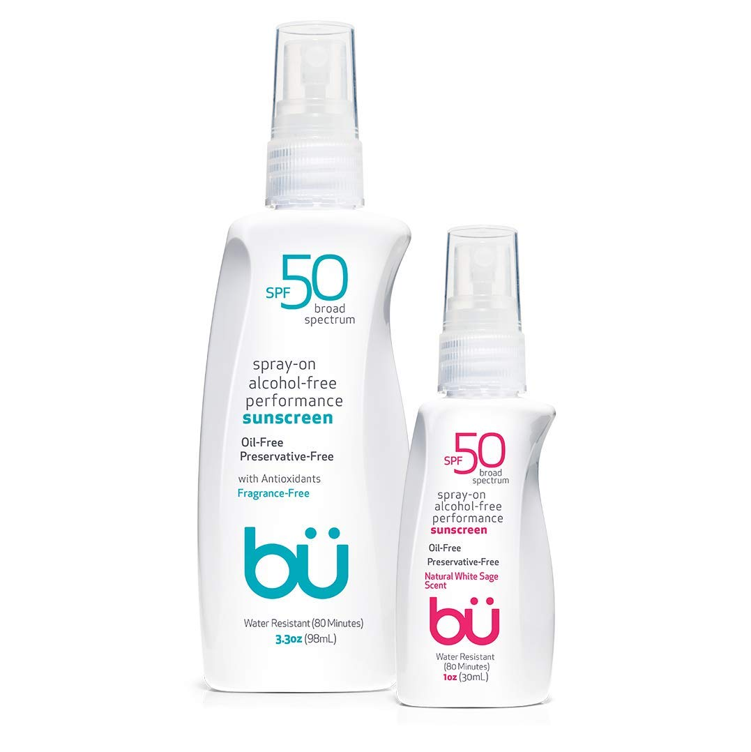 Sunscreen Spray SPF 50 by Bu Value Pack - Travel Size Organic Biodegradable Sun Block for Sensitive Skin - Oil-Free, Alcohol-Free, Non Comedogenic, Water-Resistant (Fragrance-Free + White Sage)