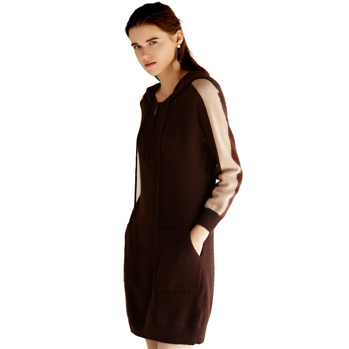Deep Brown zhili 2018 Round Neck Hooded Cashmere Sweater