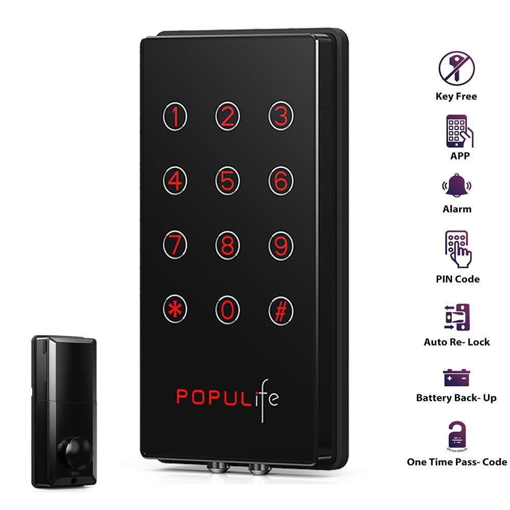 PopuLife Smart Lock Door, Keyless Smart Lock App Enable Pin Code Unlocking, Bluetooth Deadbolt, Auto-Lock Feature, Only Compatible with Wooden Door, Left Door, Right Door