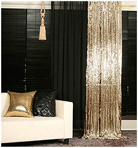 Gold Shimmer Curtains (ShinyBeauty Backdrop for Pictures 2FTx7FT-2Pack Sequin Curtain Backdrop 2 Panels Light Gold Shimmer)