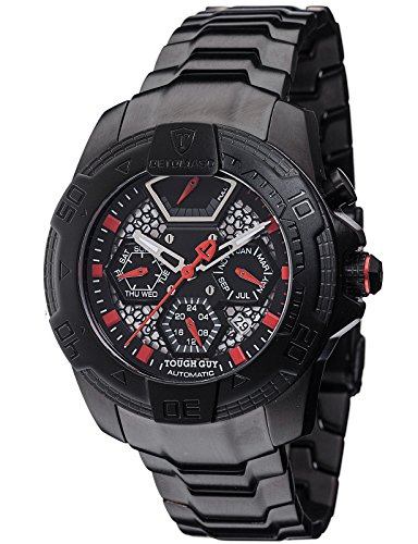 DETOMASO TOUGH GUY Men's Automatic Wrist Watch Black Red Analog Display Stainless Steel Case and Strap DT-ML103-A