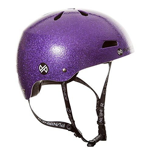 Punisher Skateboards Pro Youth 13 Vent Bright Flake Dual Safety Certified BMX Bike & Skateboard Helmet, Purple, Medium