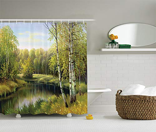 Ambesonne Lakehouse Decor Collection, Birch Tree Forest in Autumn with Leafless Branches Along Calm River Oil Painting, Polyester Fabric Shower Curtain, 75 Inches Long, Green Olive Blue Grey