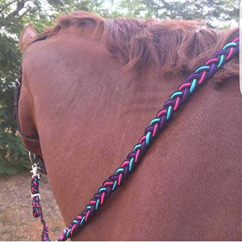 9 Strand Paracord Adjustable Horse Reins Tack - Neon Pink Neon Turquoise Acid Purple Black