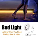 FSJEE Motion Activated Bed Light, Flexible LED Strip Motion Sensor Night Light with Automatic Shut Off Timer for Bedroom/Cabinet/Stairs/Bathroom Lamp Illumination (Twin bed)