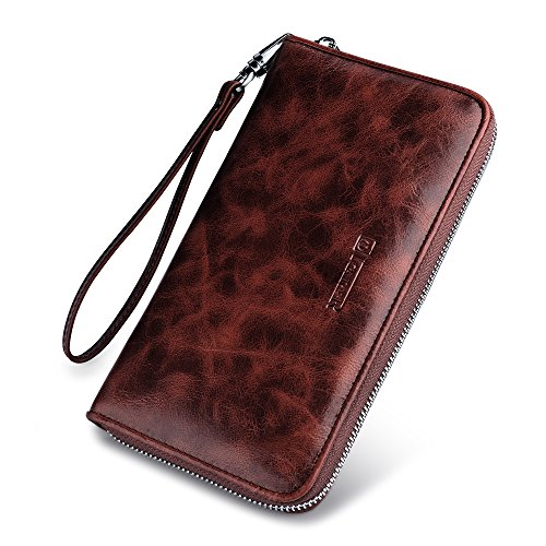 Leather Passport Wallet,Icarercase Travel Genuine Leather Checkbook Holder Zipper Chain Classic Purse (Coffee)