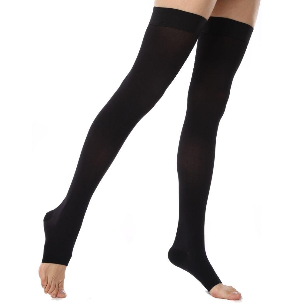 KoolFree Microfiber Medical Grade Graduated Compression Stockings for Men and Women, Thigh High Socks, Open Toe, 23-32mmHg (XXXL, black)
