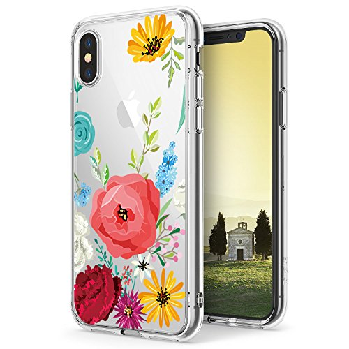 iPhone X Case,Flyeri Crystal Fashion Floral Pattern Transparent Clear Soft silicone TPU Ultra thin Phone cover back cases For apple iPhone X (10)