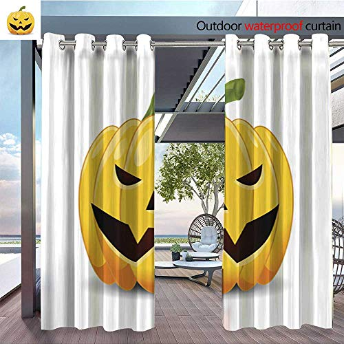 BlountDecor Outdoor- Free Standing Outdoor Privacy Curtain Halloween Pumpkin Isolated for Front Porch Covered Patio Gazebo Dock Beach Home W72 x -