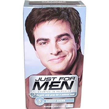 Amazon.com : Just for Men Shampoo-In Hair Color, Darkest Brown 50 ...