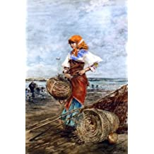 """Eugene De Blaas Gathering Cockles at the Seashore - 18.1"""" x 27.1"""" Peel & Stick Removable Wall Decal"""