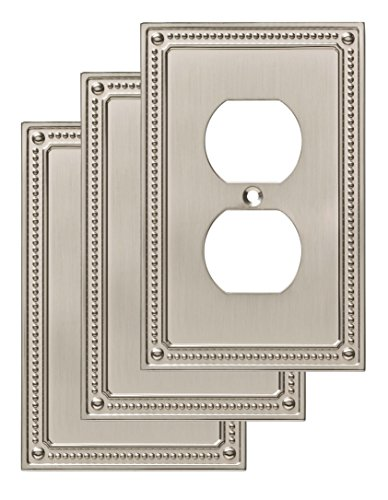 Wall Duplex Single Plate Gang - Franklin Brass W35059V-SN-C Classic Beaded Single Duplex Wall Plate/Switch Plate/Cover (3 Pack), Satin Nickel