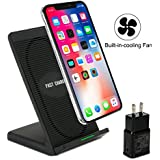 10W Fast Wireless Charger Stand Vantrends Qi Wireless Charger with Cooling Fan for iPhone X iPhone 8/8 Plus Samsung Galaxy S9 S9 plus Note 8 S8 S8+ S7 S7+ S6 edge+(QC 2.0 Adapter Included)