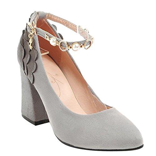 Carolbar Women's Fashion Charm Block High Heel Beaded Court Shoes Grey WKEqcR7ew