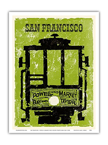 San Francisco - Powell & Market, Bay & Taylor Streets Cable Car Line - Vintage World Travel Poster c.1960 - Master Art Print - 9in x - Street Powell Francisco San