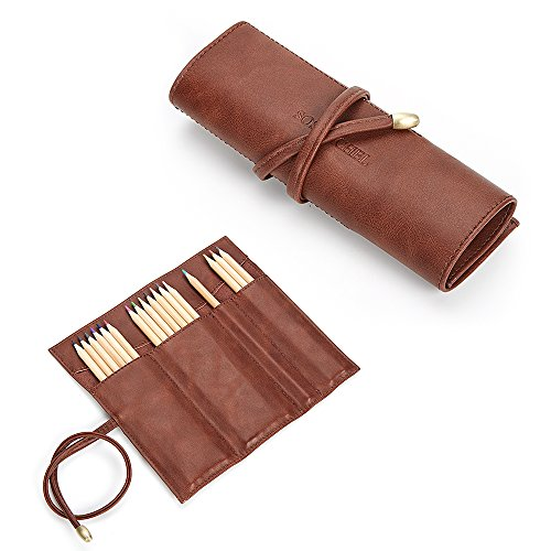 SOSATCHEL PU Leather Rollup Pen Bag Pencil Case Storage Pouch Organizer, Brown