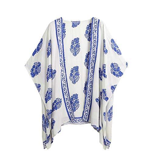 Holzkary Ladies Fashion Boho Printed Beach Sunscreen Shirt Loose Casual Swimsuit Cover Up Kimono Cardigan ()