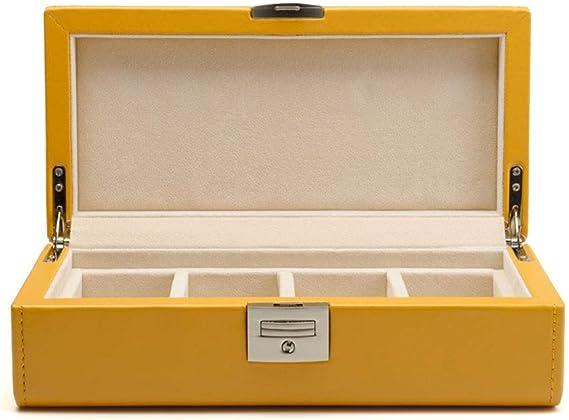Estuche para Relojes, PU Caja De Relojes, 4 Slots Organizador Reloj Caja De Almacenamiento, Exhibición De Relojes (Color : Amarillo): Amazon.es: Relojes