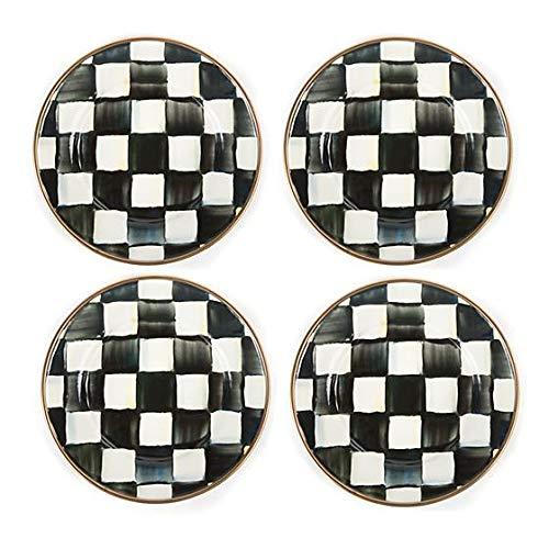 Mackenzie Childs Courtly Check Enamel Canape Plates set of 4 ()