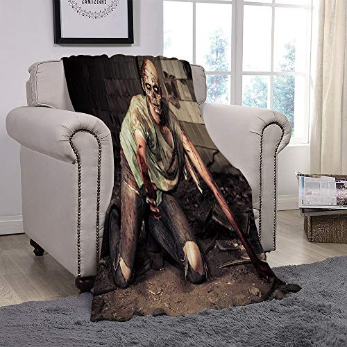 YOLIYANA Light Weight Fleece Throw Blanket/Zombie Decor,Halloween Scary Dead Man in Old Building with Bloody Head Nightmare Theme,Grey Mint Peach/for Couch Bed Sofa for Adults Teen Girls Boys -