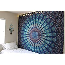 Montreal Tapessier Blue dorm blu hippie Tapestry , Bohomein art,bedsheet, Hippie Gypsy Wall Hanging , picknic blanket , New Age Dorm Tapestry (Multi/Black)