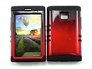 LG OPTIMUS LOGIC CASE TWO TONE BLACK RED BK-A005-AG HEAVY DUTY HIGH IMPACT HYBRID COVER BLACK SKIN SILICON L35G