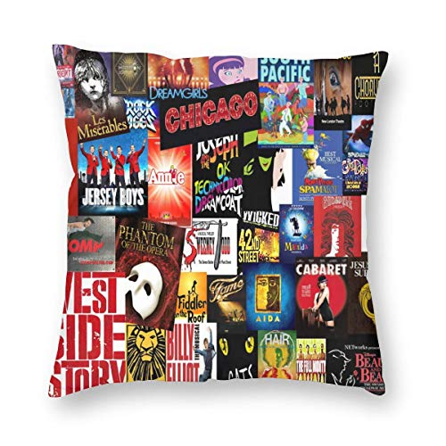 FASHIONGI Decorative Broadway Collage Pillow Cushions Cover Throw Pillow Cover & Insert for Sofa Bedroom Pillowslip Gift Household Pillowcase 18