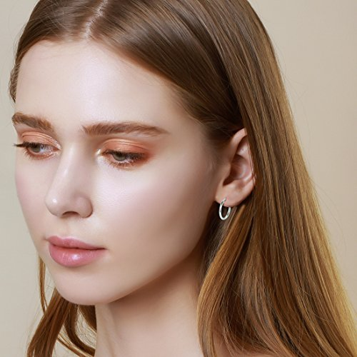 Carleen 14K White Gold Plated 925 Sterling Silver Dainty Round-Tube Click-Top Hoop Earrings for Women Girls (Diameter 20mm) by Carleen (Image #4)
