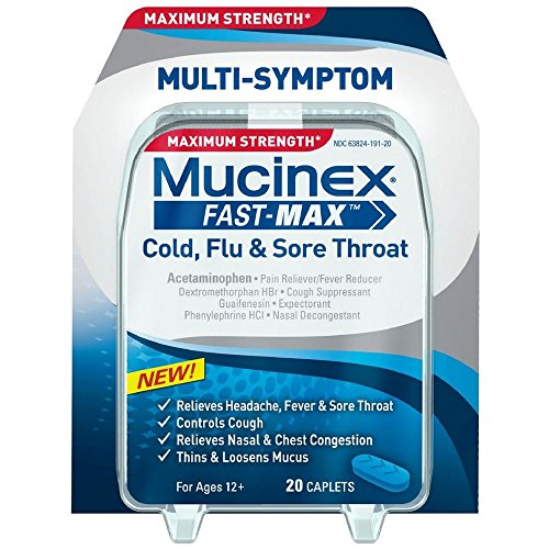 Mucinex Fast-Max Cold, Flu, & Sore Throat Caplets, 20ct