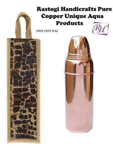 Handmade Indian Copper Water Bottle with Lid by CGP