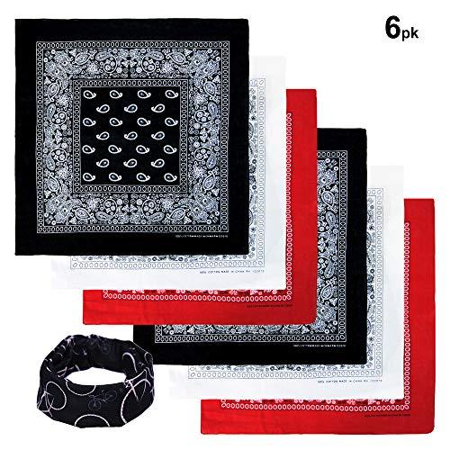 Basico Bandanas Value Pack 100% Cotton Paisley Head Wrap with Tube Face Mask/Headband (6pk- Black/ White/ Red)