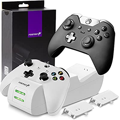 Fosmon Xbox One / One X / One S Controller Charger, [Dual Slot] High Speed Docking / Charging Station with 2 x 1000mAh Rechargeable Battery Packs (Standard and Elite Compatible) - White from Fosmon