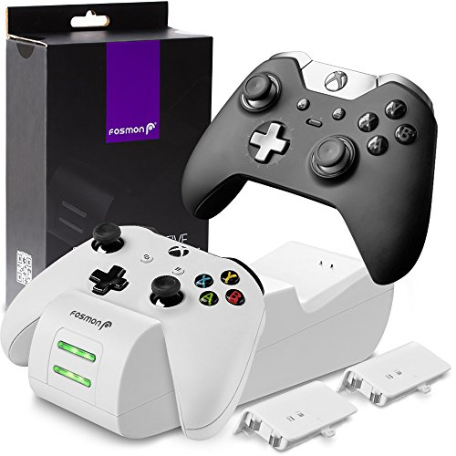 Fosmon Xbox One/One X/One S Controller Charger, [Dual Slot] High Speed Docking/Charging Station with 2 x 1000mAh Rechargeable Battery Packs (Standard and Elite Compatible) - White