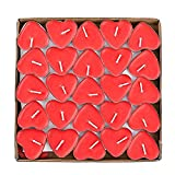 wonsain Heart Shaped Smokeless Tealight Candles, 50 Pack Unscented Tea Lights Romantic Love Candles Bulk for Home Decor, Wedding, Birthday, Party, Halloween, Christmas, Festival (Red)