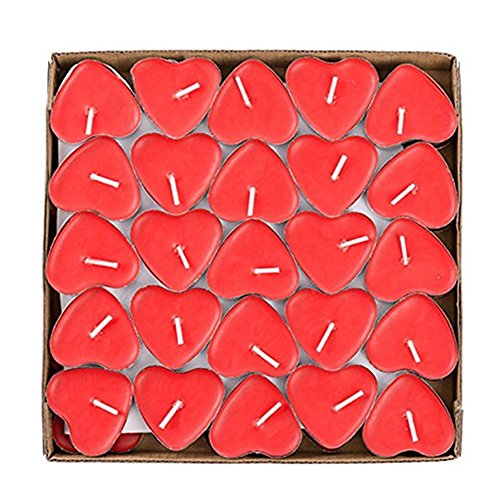 wonsain Heart Shaped Smokeless Tealight Candles, 50 Pack Unscented Tea Lights Romantic Love Candles Bulk for Home Decor, Wedding, Birthday, Party, Halloween, Christmas, Festival (Red) -