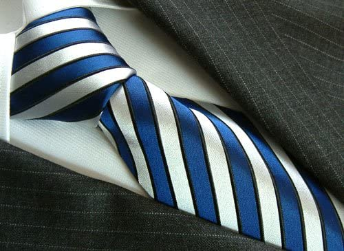 77070 Luxury Italian 100/% Silk Tie Jacquard Silver Blue Black Stripes Necktie LORENZO CANA