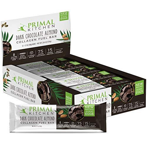Primal Kitchen - Dark Chocolate Almond Collagen Protein Bars, 12g of Protein, Paleo Approved (Pack of 12, 1.7 oz)