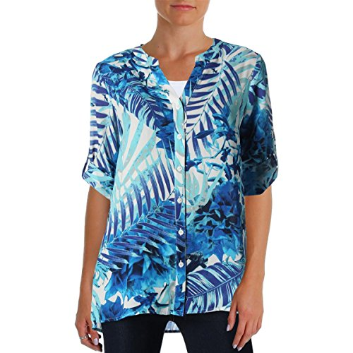 Foxcroft Print Fitted Shirt (Foxcroft Womens Floral Print Hi Low Blouse Bronze 4)
