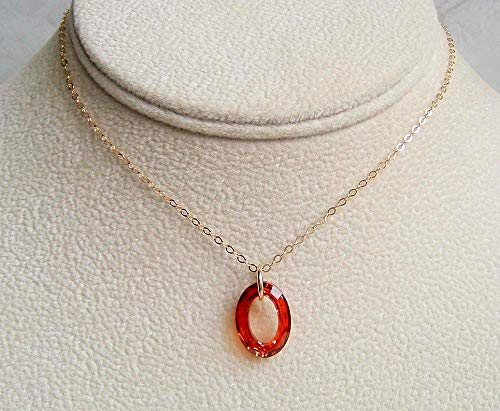 Dark Orange Cosmic Oval Ring 16 Inch Gold Filled Necklace Made With Swarovski Crystal Gift Idea