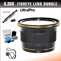 55mm 0.38x High Definition Fisheye Lens with Macro Attachment for Sony FDR-AX53 Camcorder. UltraPro Bundle Includes: Lens Pen Cleaner, Cap Keeper, UltraPro Deluxe Cleaning Kit